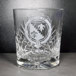 Crystal Whisky Glass Engraved with Irish Clan Sept Badge, ref CWICB